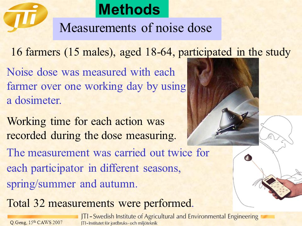 Q.Geng, 15 th CAWS 2007 Methods Measurements of noise dose 16 farmers (15 males), aged 18-64, participated in the study Noise dose was measured with each farmer over one working day by using a dosimeter.