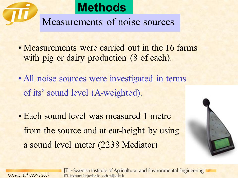 Q.Geng, 15 th CAWS 2007 Methods Measurements of noise sources Measurements were carried out in the 16 farms with pig or dairy production (8 of each).