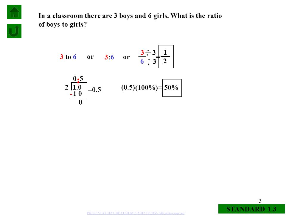 3 STANDARD 1.3 In a classroom there are 3 boys and 6 girls. What is the ratio of boys to girls? 3 to 6 or 3:63:6 3 6 1 2 = =0.5 (0.5) - 1 0 5 0 2 1.0