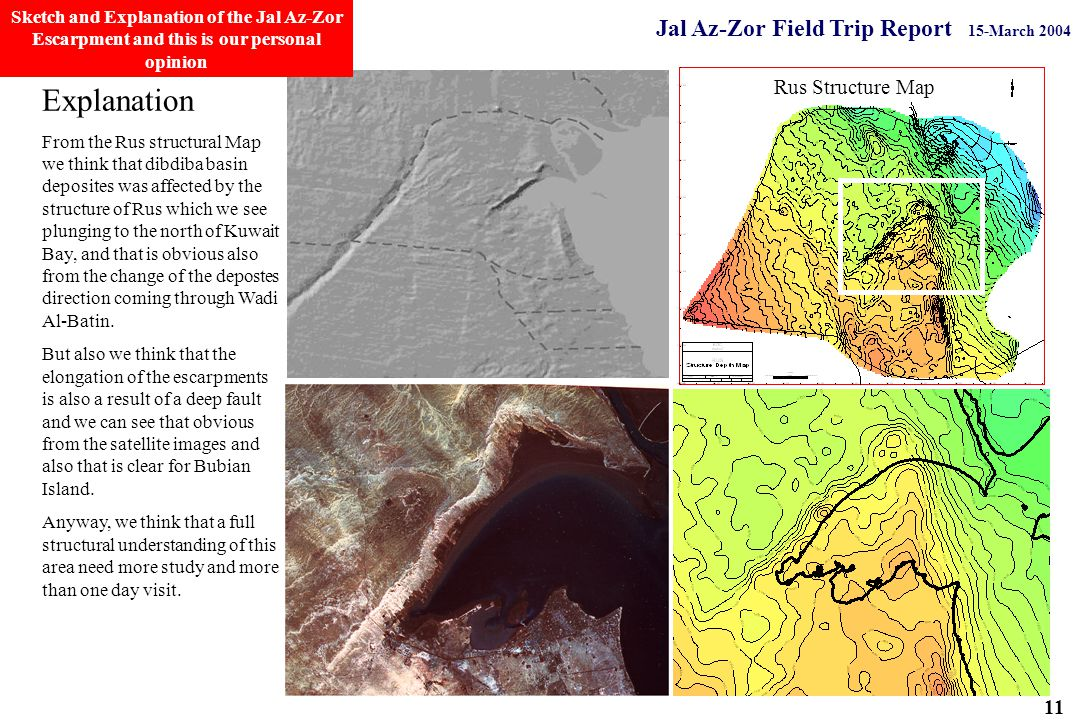 Jal Az-Zor Field Trip Report 15-March 2004 Explanation From the Rus structural Map we think that dibdiba basin deposites was affected by the structure of Rus which we see plunging to the north of Kuwait Bay, and that is obvious also from the change of the depostes direction coming through Wadi Al-Batin.