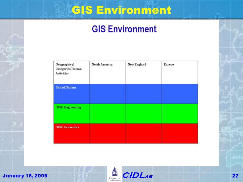 January 15, 200922 CIDL ab GIS Environment
