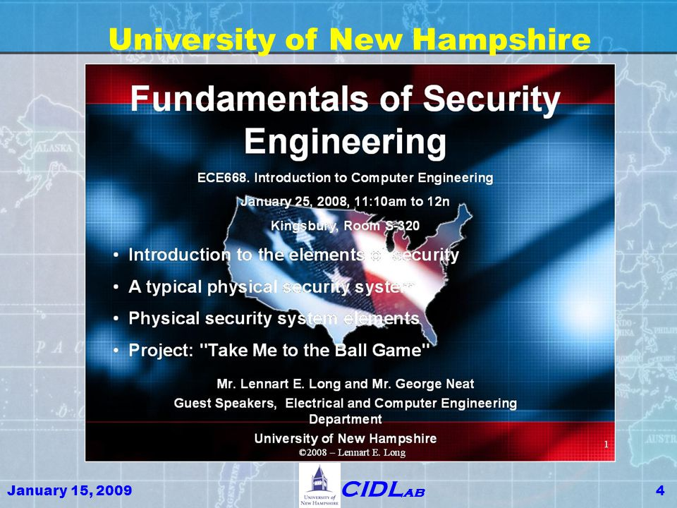 January 15, 200925 CIDL ab Key GIS Terminology (continued) GIS Engineering -- Globally Integrated Security Engineering -- the new Engineering Discipline involved with the design, implementation, and operation of the transportation and energy delivery and other Critical Infrastructure and systems that make possible the Western Lifestyle GIS Education -- Globally Integrated Security Education – is the new curriculum that incorporates GIS principles to educate the cadre of policy makers, engineers and technicians required to insure that GIS Environment can be designed, implemented, operated and maintained