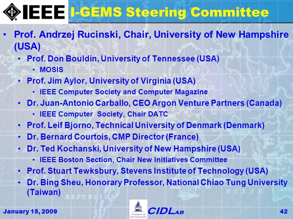 January 15, 200942 CIDL ab I-GEMS Steering Committee Prof.