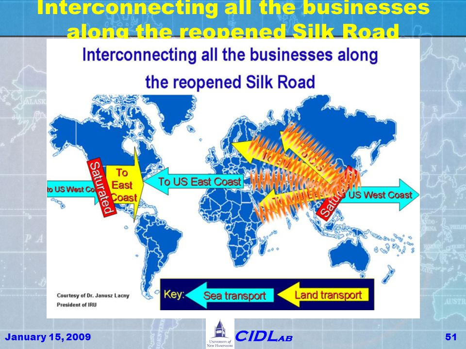 January 15, 200951 CIDL ab Interconnecting all the businesses along the reopened Silk Road
