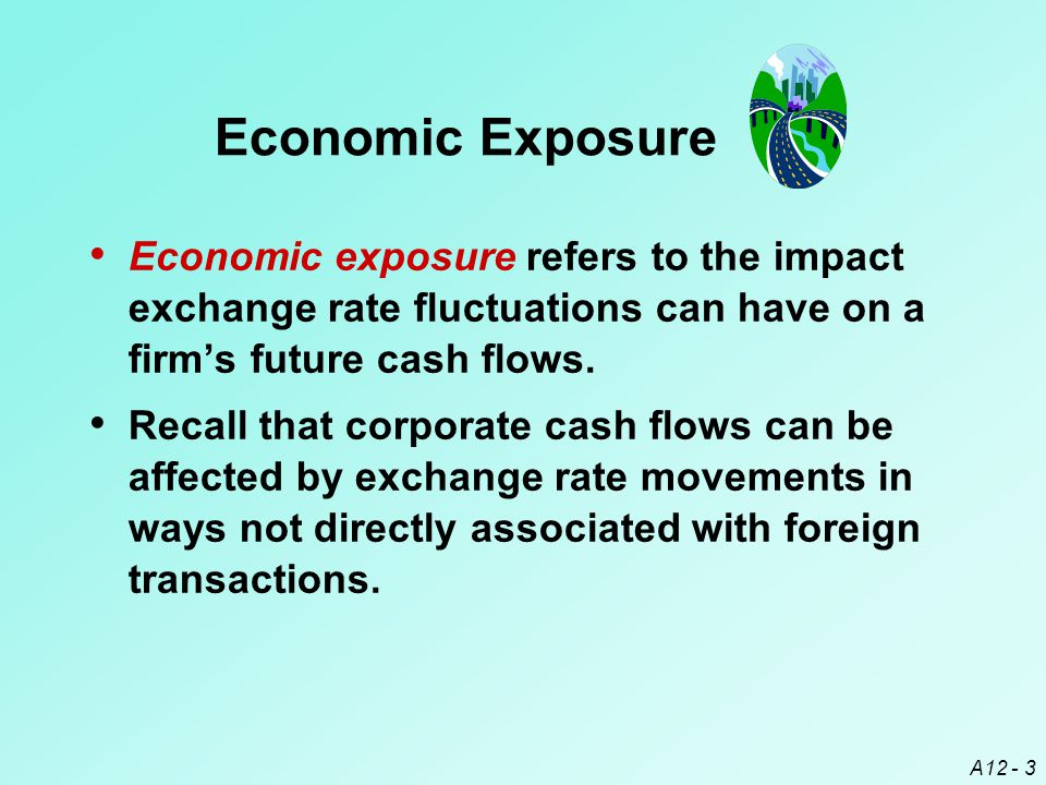 A12 - 3 Economic exposure refers to the impact exchange rate fluctuations can have on a firm's future cash flows.