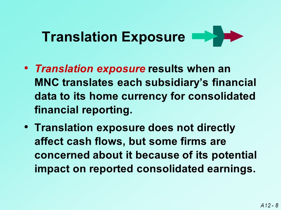 A12 - 8 Translation exposure results when an MNC translates each subsidiary's financial data to its home currency for consolidated financial reporting.