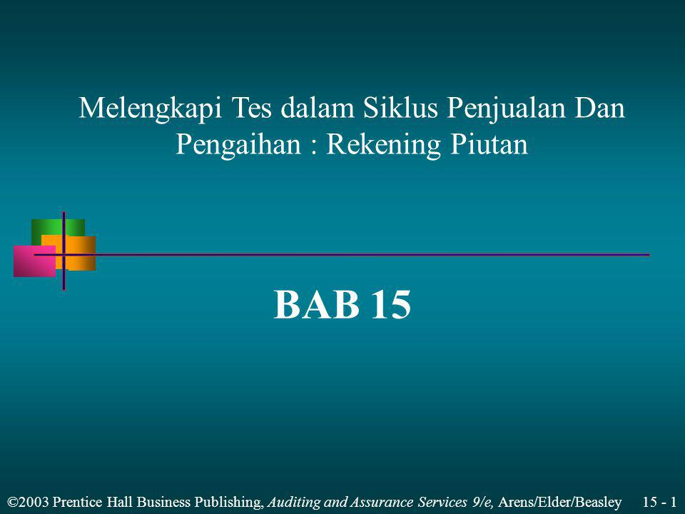 ©2003 Prentice Hall Business Publishing, Auditing and Assurance Services 9/e, Arens/Elder/Beasley 15 - 2 Menjelaskan Metodelogi Desain Rincian saldo menggunakan model audit resiko