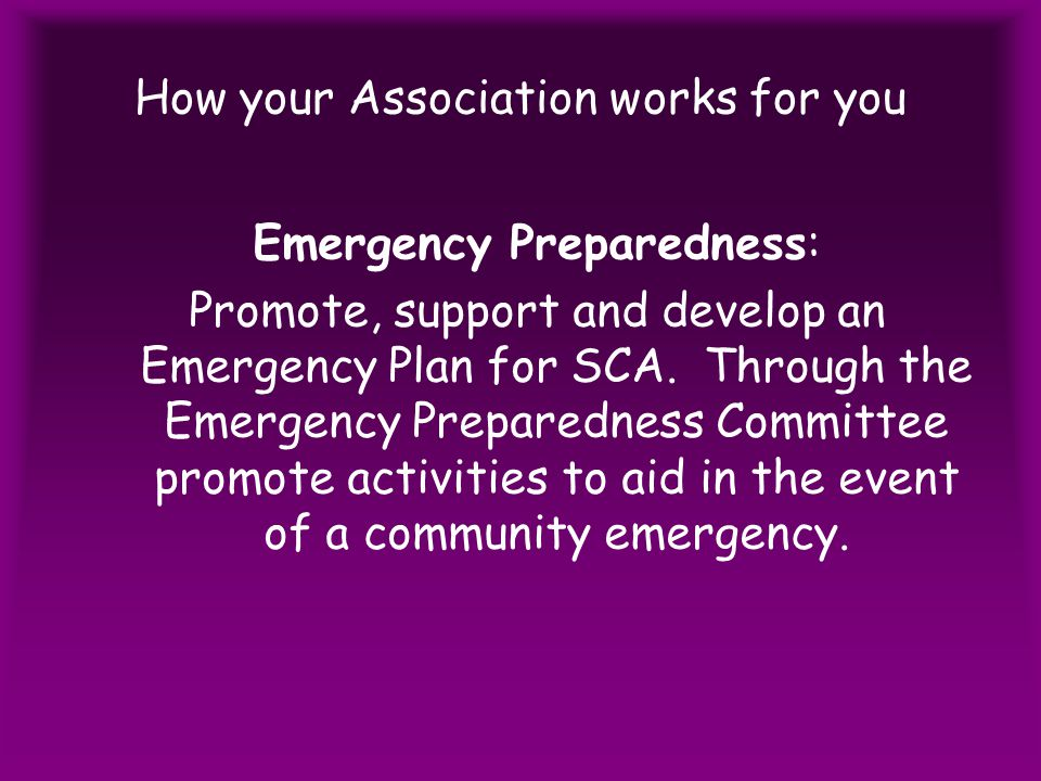 How your Association works for you Emergency Preparedness: Promote, support and develop an Emergency Plan for SCA.