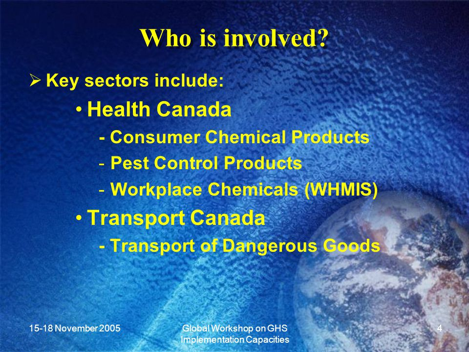 15-18 November 2005Global Workshop on GHS Implementation Capacities 5 Objectives of Canadian Implementation of the GHS  Harmonization to the greatest extent possible between the sectors.
