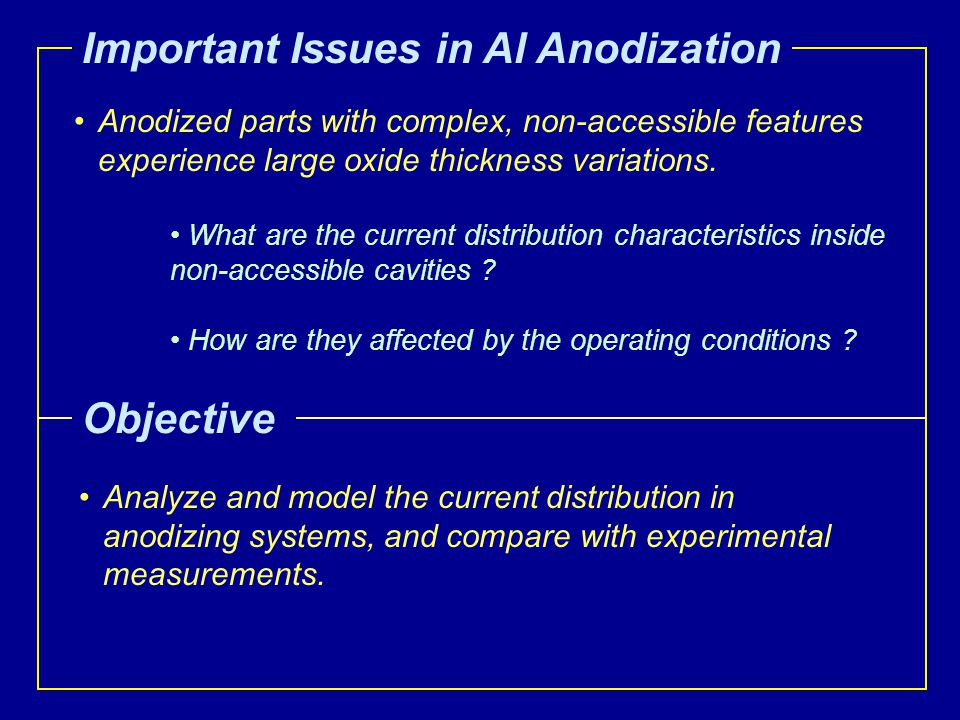 Important Issues in Al Anodization Analyze and model the current distribution in anodizing systems, and compare with experimental measurements. Object