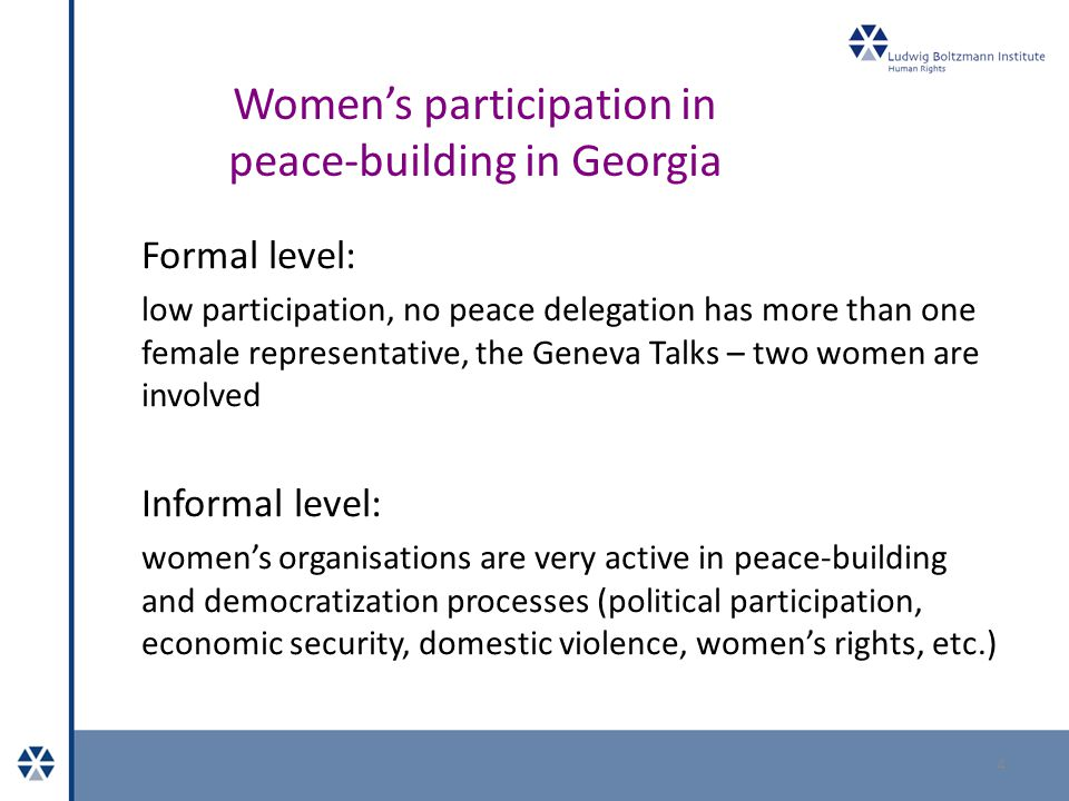 Women's participation in peace-building in Georgia Examples of projects:  Strenghtening women's capacity in peacebuilding in South Caucasus (Care Austria, BIM, local NGO partners)  Women for Equality, Peace and Development (Taso Foundation, Women's Information Center, Government of Norway, UNWomen) 5