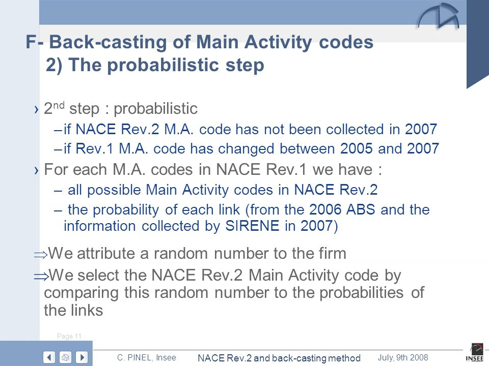 Page 11 NACE Rev.2 and back-casting method C.
