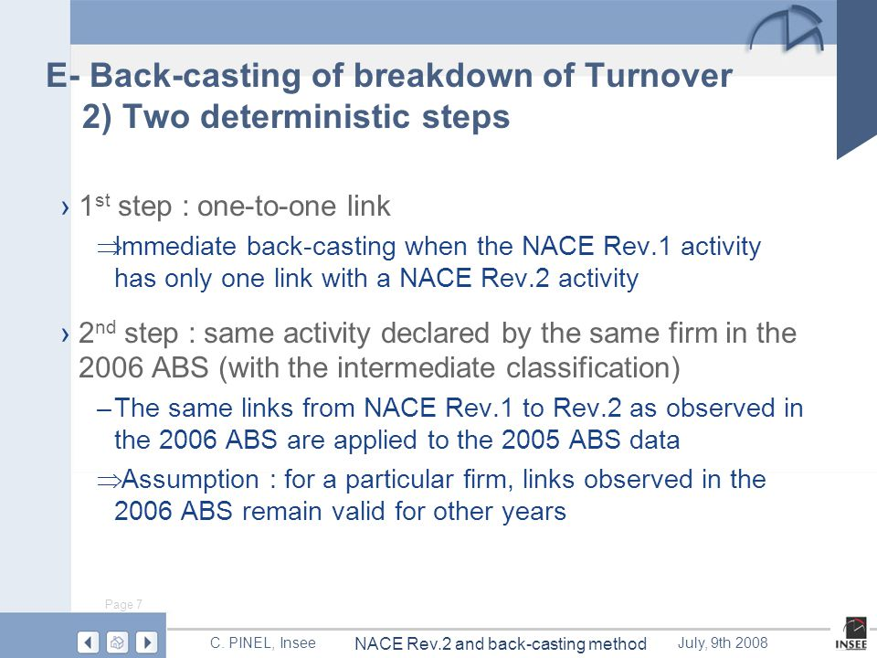 Page 7 NACE Rev.2 and back-casting method C.