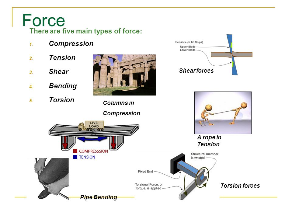 Force There are five main types of force: 1. Compression 2.