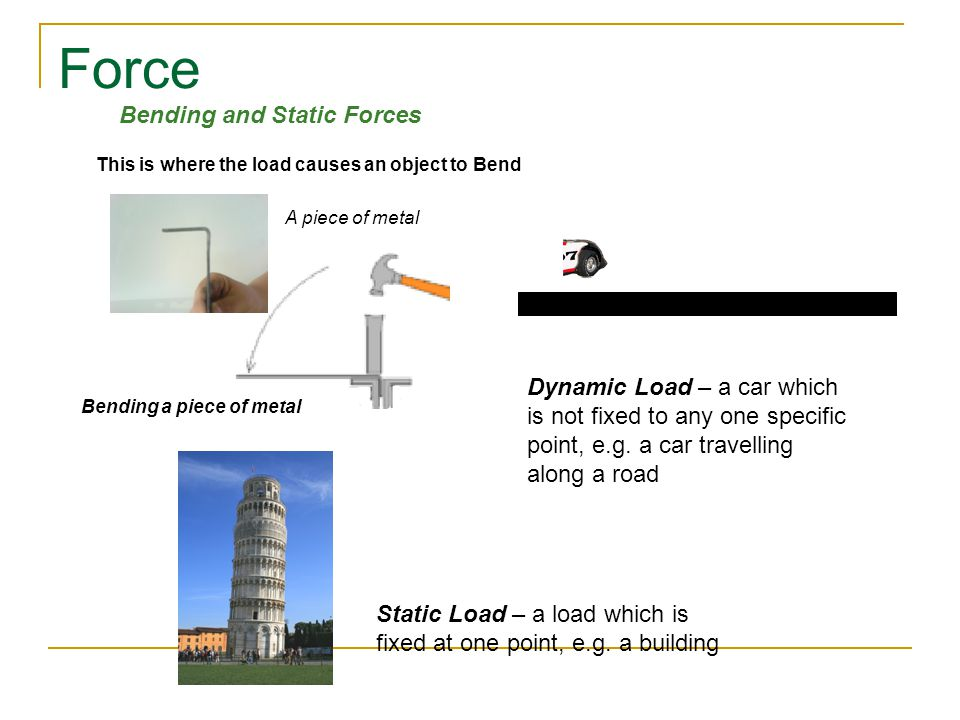 Force This is where the load causes an object to Bend A piece of metal Bending a piece of metal Bending and Static Forces Dynamic Load – a car which is not fixed to any one specific point, e.g.
