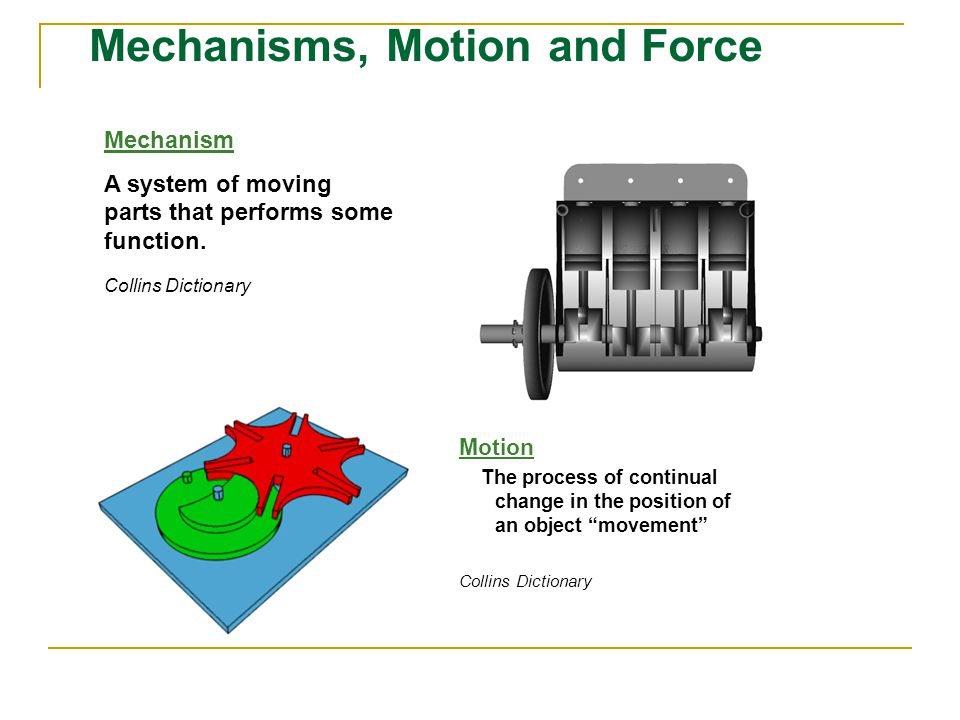 Mechanisms, Motion and Force Mechanism A system of moving parts that performs some function.