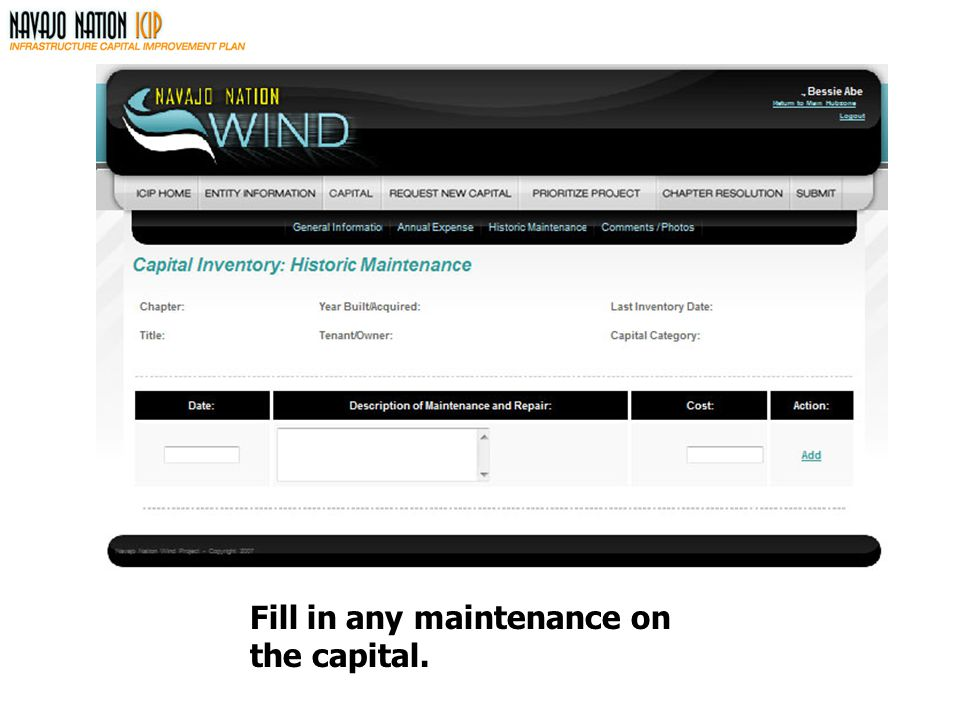 Fill in any maintenance on the capital.