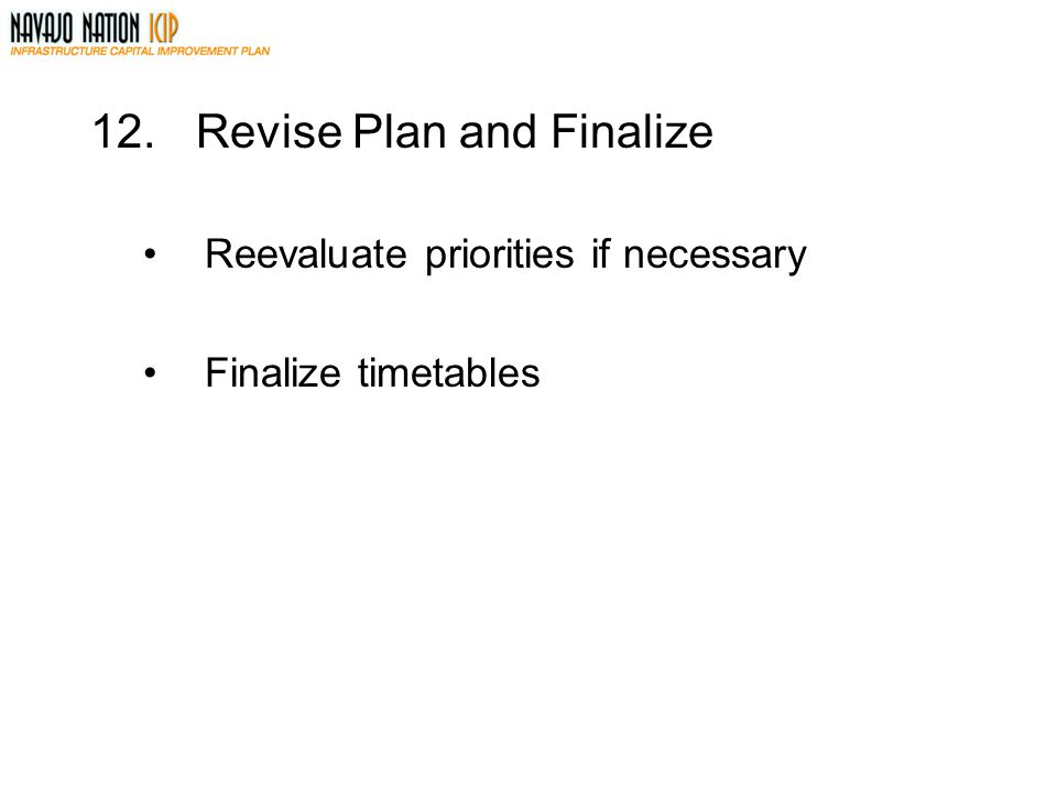 12.Revise Plan and Finalize Reevaluate priorities if necessary Finalize timetables