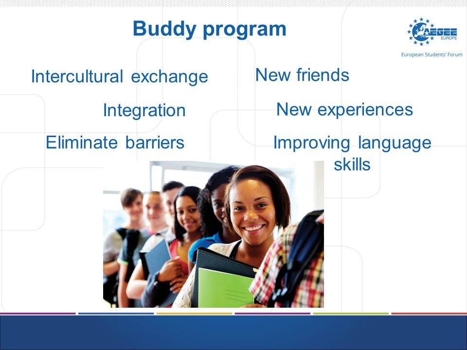 Buddy program Integration Intercultural exchange New friends Improving language skills Eliminate barriers New experiences