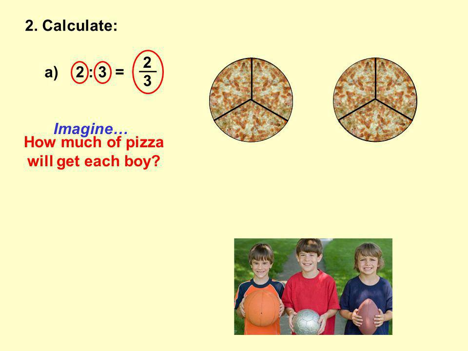2. Calculate: a) 2 : 3 = __ 2 3 How much of pizza will get each boy Imagine…