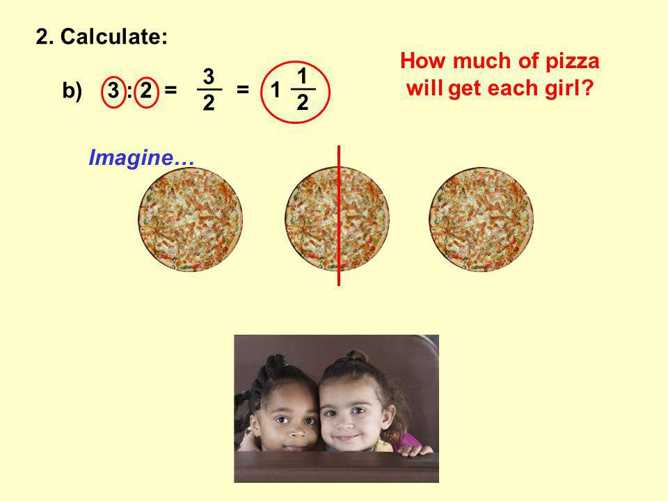 b) 3 : 2 = __ 3 2 =1 1 2 2. Calculate: How much of pizza will get each girl Imagine…