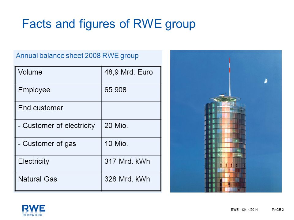 RWE 12/14/2014PAGE 2 Facts and figures of RWE group Annual balance sheet 2008 RWE group Volume48,9 Mrd.