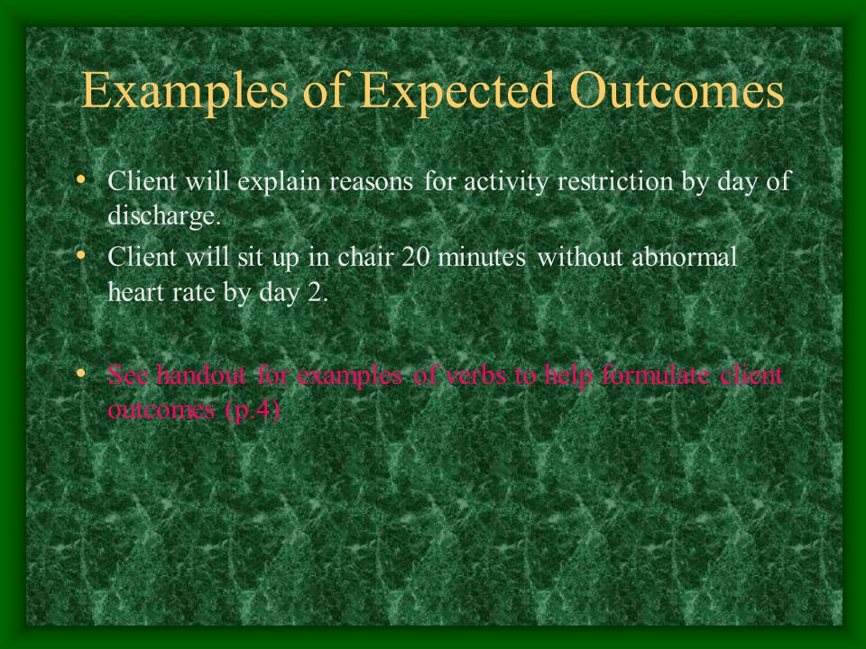 Examples of Expected Outcomes Client will explain reasons for activity restriction by day of discharge.