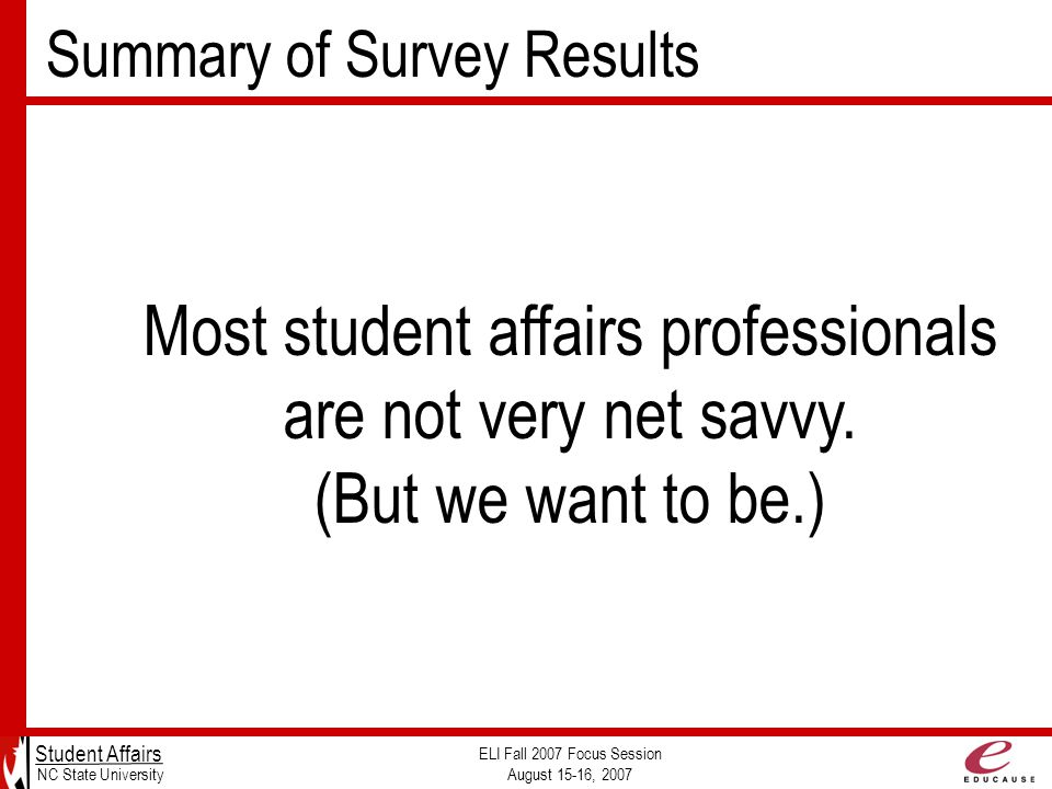 Summary of Survey Results Student Affairs NC State University ELI Fall 2007 Focus Session August 15-16, 2007 Most student affairs professionals are not very net savvy.