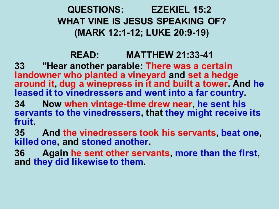 QUESTIONS:EZEKIEL 15:2 WHAT VINE IS JESUS SPEAKING OF.