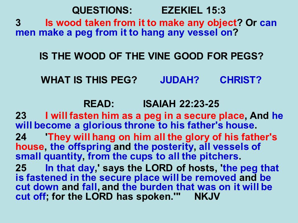 QUESTIONS:EZEKIEL 15:3 3Is wood taken from it to make any object? Or can men make a peg from it to hang any vessel on? IS THE WOOD OF THE VINE GOOD FO