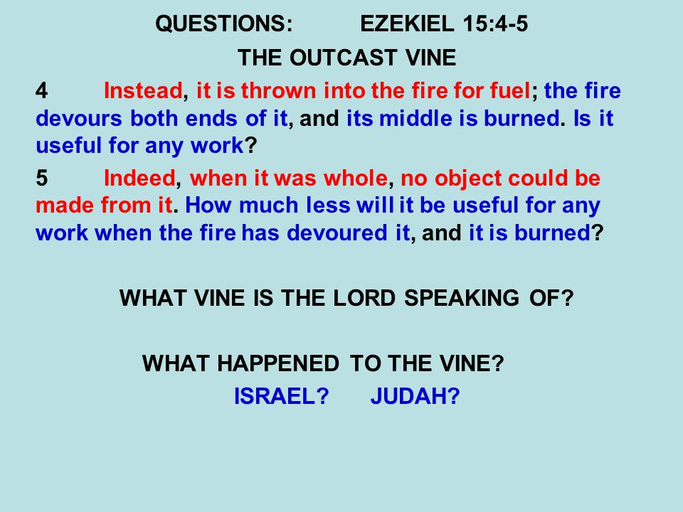 QUESTIONS:EZEKIEL 15:4-5 THE OUTCAST VINE 4Instead, it is thrown into the fire for fuel; the fire devours both ends of it, and its middle is burned.