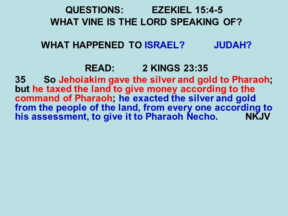 QUESTIONS:EZEKIEL 15:4-5 WHAT VINE IS THE LORD SPEAKING OF.