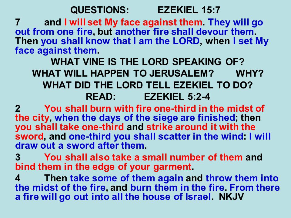 QUESTIONS:EZEKIEL 15:7 7and I will set My face against them.