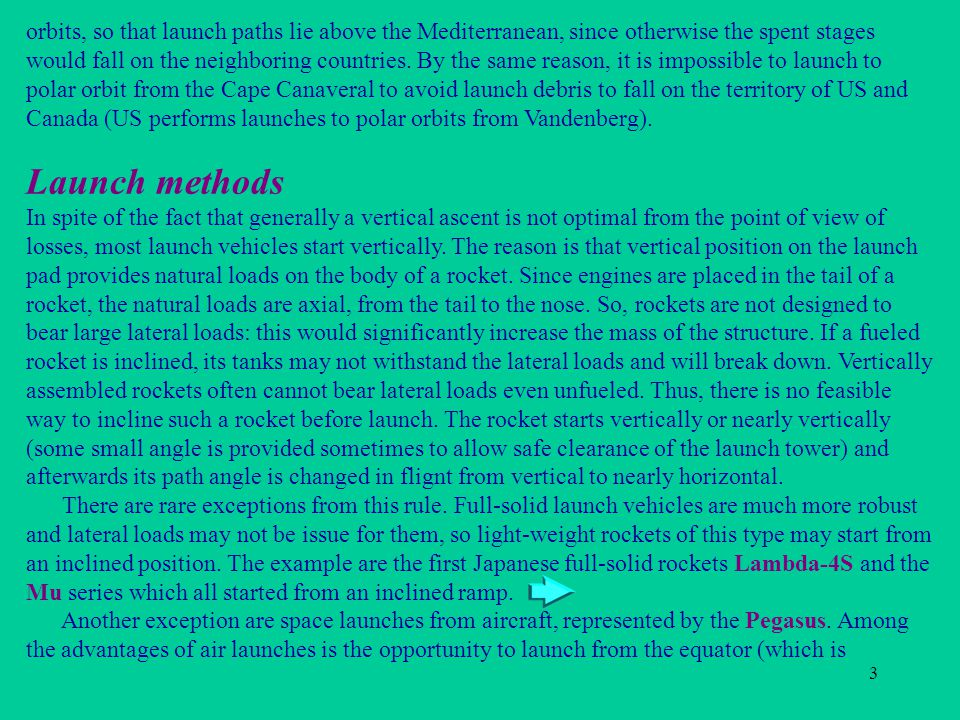 3 Launch methods orbits, so that launch paths lie above the Mediterranean, since otherwise the spent stages would fall on the neighboring countries. B