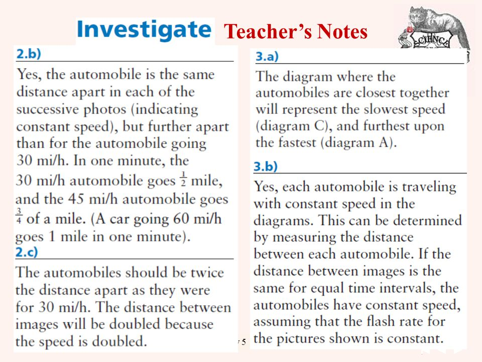 22 Unit 1 Kinematics Chapter 1 Day Teacher's Notes