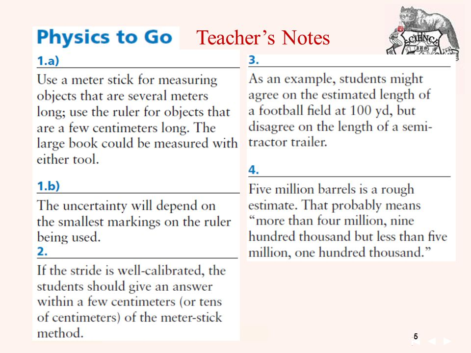 5 Unit 1 Kinematics 09-15-2011 Chapter 1 Day 5 09-18-2012 Teacher's Notes