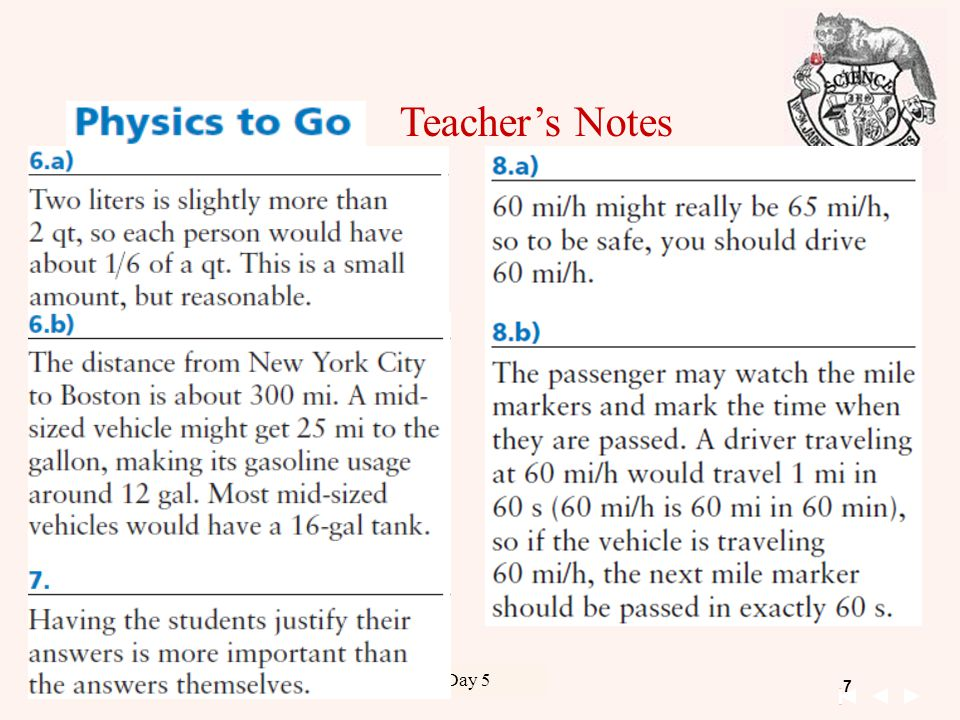 8 Unit 1 Kinematics 09-15-2011 Chapter 1 Day 5 09-18-2012 Teacher's Notes