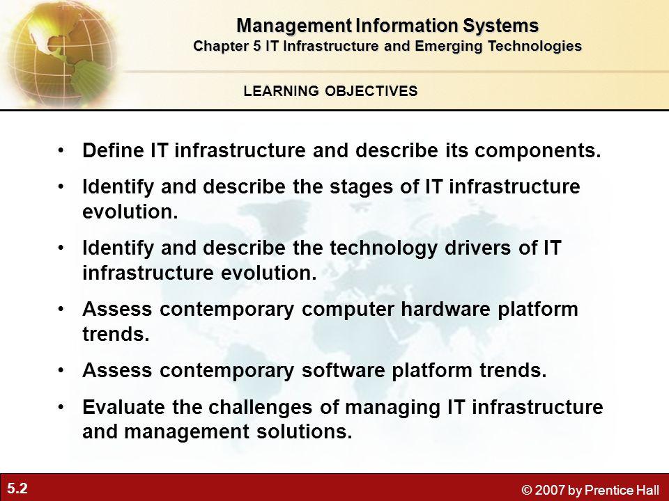 5.3 © 2007 by Prentice Hall IT Infrastructure Defining IT infrastructure Dengan ilustrasi Gambar infrastruktur TI di atas dapat dijelaskan sebagai struktur yang memberikan layanan dan support terhadap lapisan di atasnya yaitu pengembangan aplikasi.