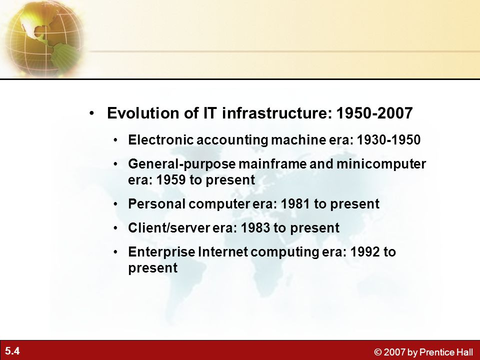 5.4 © 2007 by Prentice Hall Evolution of IT infrastructure: 1950-2007 Electronic accounting machine era: 1930-1950 General-purpose mainframe and minicomputer era: 1959 to present Personal computer era: 1981 to present Client/server era: 1983 to present Enterprise Internet computing era: 1992 to present