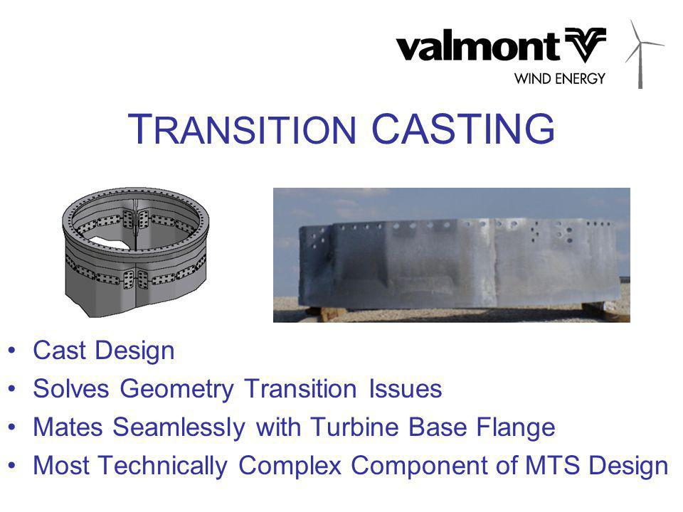 T RANSITION CASTING Cast Design Solves Geometry Transition Issues Mates Seamlessly with Turbine Base Flange Most Technically Complex Component of MTS Design