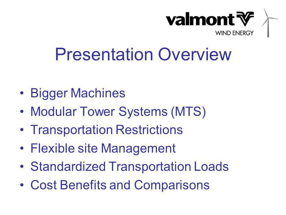 Presentation Overview Bigger Machines Modular Tower Systems (MTS) Transportation Restrictions Flexible site Management Standardized Transportation Loads Cost Benefits and Comparisons