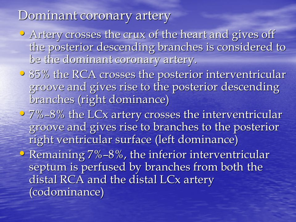 Dominant coronary artery Artery crosses the crux of the heart and gives off the posterior descending branches is considered to be the dominant coronary artery.