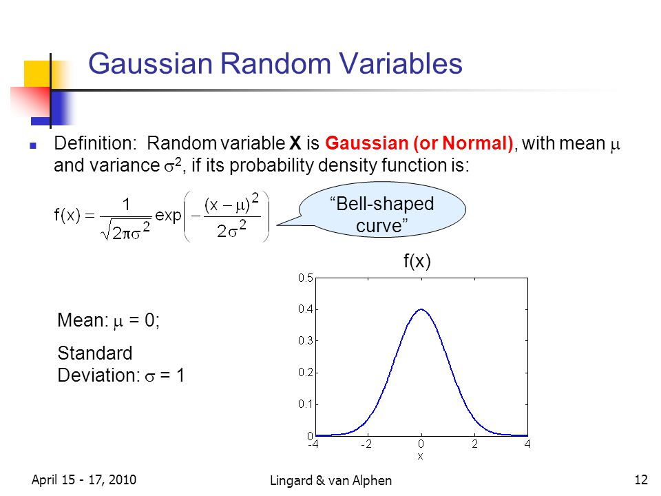 Lingard & van Alphen April 15 - 17, 2010 12 Gaussian Random Variables Definition: Random variable X is Gaussian (or Normal), with mean  and variance  2, if its probability density function is: Bell-shaped curve f(x) Mean:  = 0; Standard Deviation:  = 1
