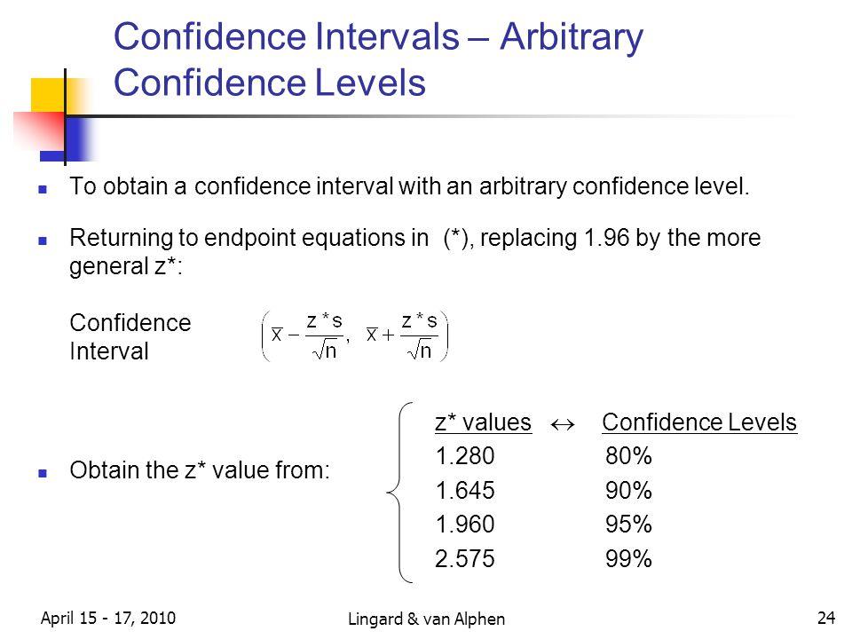 Lingard & van Alphen April 15 - 17, 2010 24 Confidence Intervals – Arbitrary Confidence Levels To obtain a confidence interval with an arbitrary confidence level.