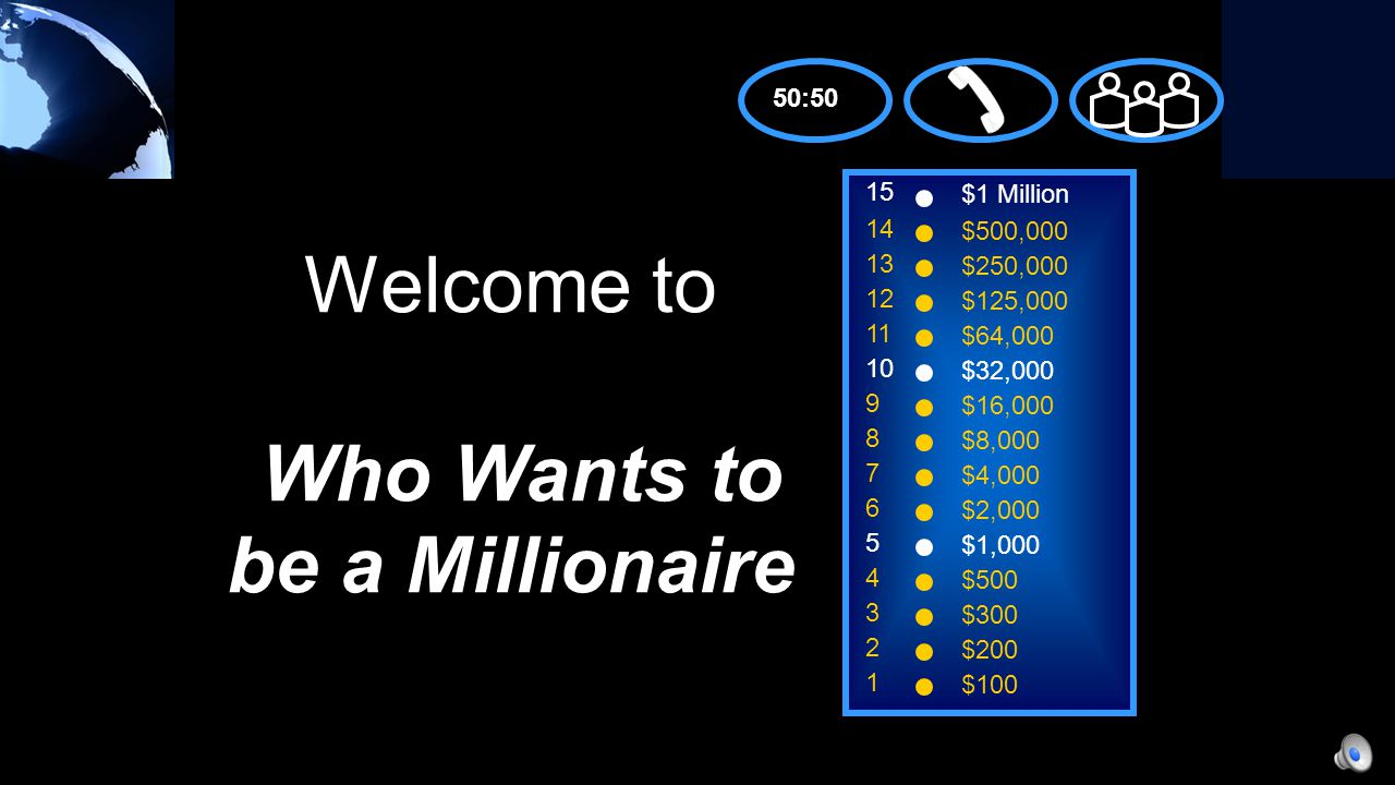 A: 50;100 C: 40;120 B: 50;120 D: 40;100 50:50 15 14 13 12 11 10 9 8 7 6 5 4 3 2 1 $1 Million $500,000 $250,000 $125,000 $64,000 $32,000 $16,000 $8,000 $4,000 $2,000 $1,000 $500 $300 $200 $100 Before WWI, airplanes could only reach speeds of __ mph.