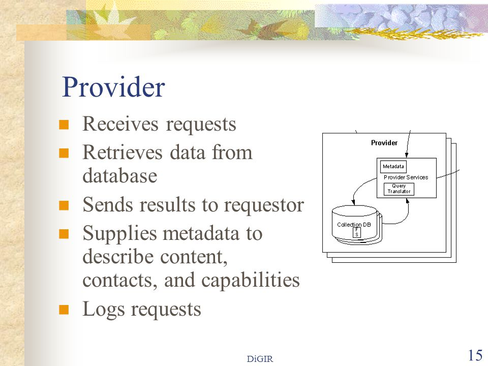 DiGIR 15 Provider Receives requests Retrieves data from database Sends results to requestor Supplies metadata to describe content, contacts, and capabilities Logs requests