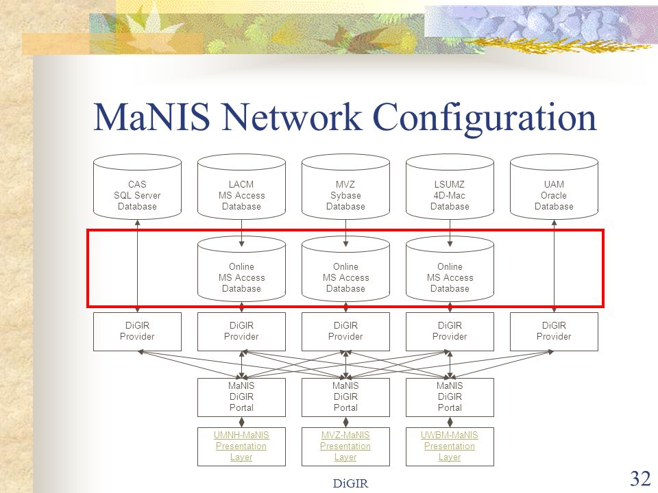DiGIR 32 MaNIS Network Configuration LACM MS Access Database Online MS Access Database MVZ Sybase Database MaNIS DiGIR Portal LSUMZ 4D-Mac Database Online MS Access Database UAM Oracle Database Online MS Access Database MaNIS DiGIR Portal MaNIS DiGIR Portal MVZ-MaNIS Presentation Layer UMNH-MaNIS Presentation Layer UWBM-MaNIS Presentation Layer DiGIR Provider DiGIR Provider DiGIR Provider DiGIR Provider DiGIR Provider CAS SQL Server Database
