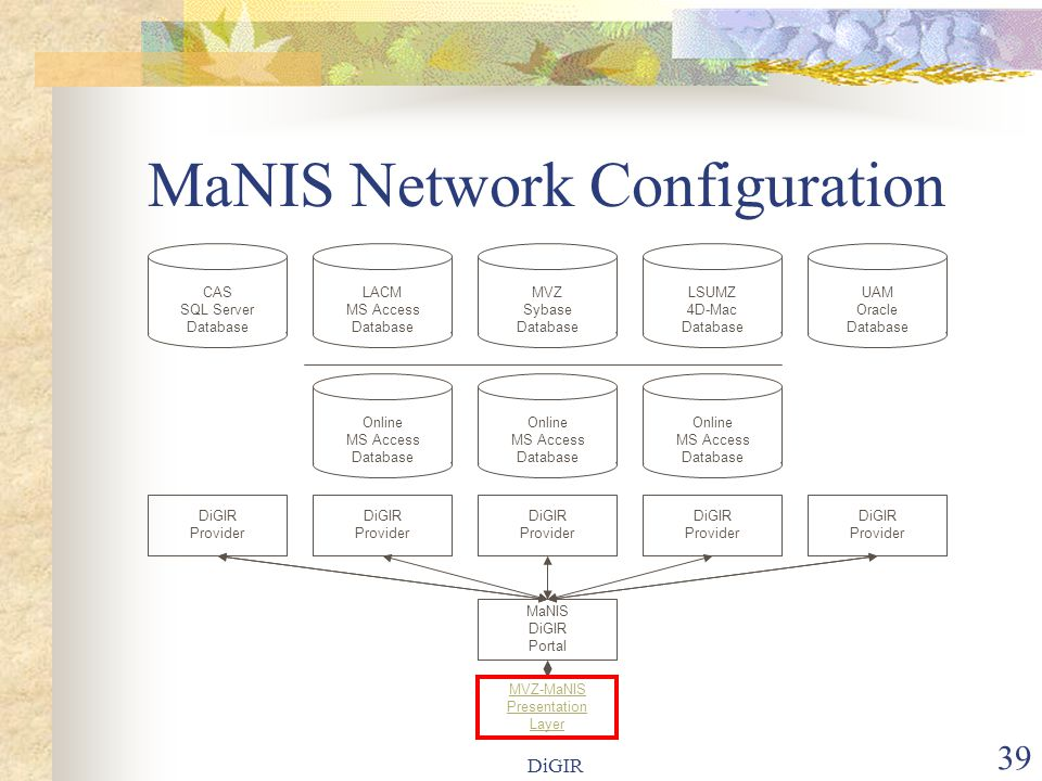 DiGIR 39 MaNIS Network Configuration LACM MS Access Database Online MS Access Database MVZ Sybase Database MaNIS DiGIR Portal LSUMZ 4D-Mac Database Online MS Access Database UAM Oracle Database Online MS Access Database MVZ-MaNIS Presentation Layer DiGIR Provider DiGIR Provider DiGIR Provider DiGIR Provider DiGIR Provider CAS SQL Server Database