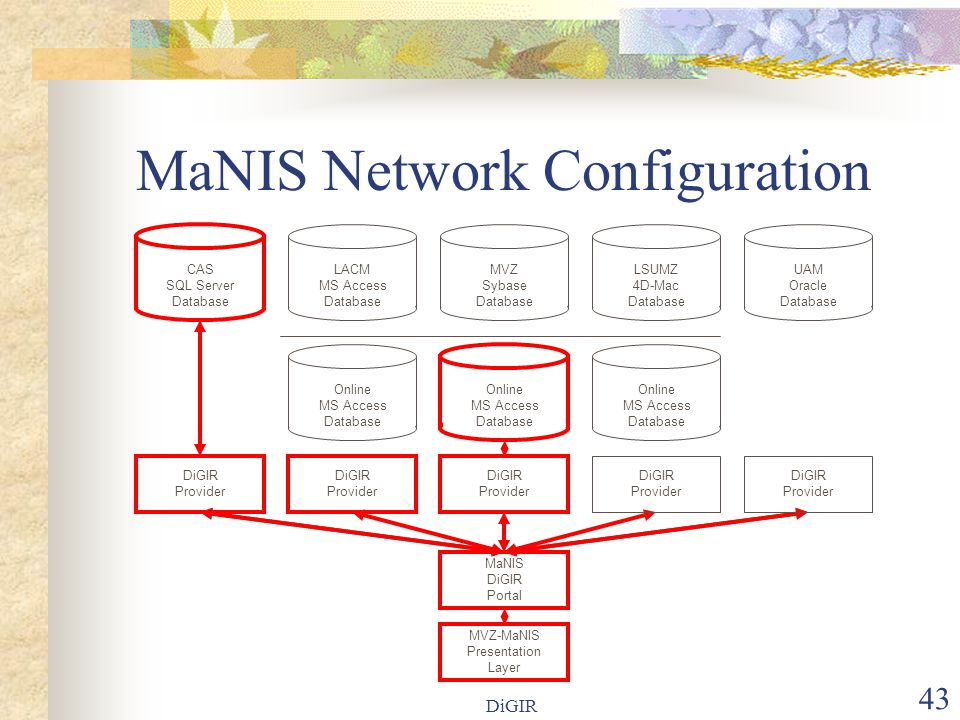 DiGIR 43 MaNIS Network Configuration LACM MS Access Database Online MS Access Database MVZ Sybase Database MaNIS DiGIR Portal LSUMZ 4D-Mac Database UAM Oracle Database Online MS Access Database MVZ-MaNIS Presentation Layer DiGIR Provider DiGIR Provider DiGIR Provider DiGIR Provider DiGIR Provider CAS SQL Server Database Online MS Access Database