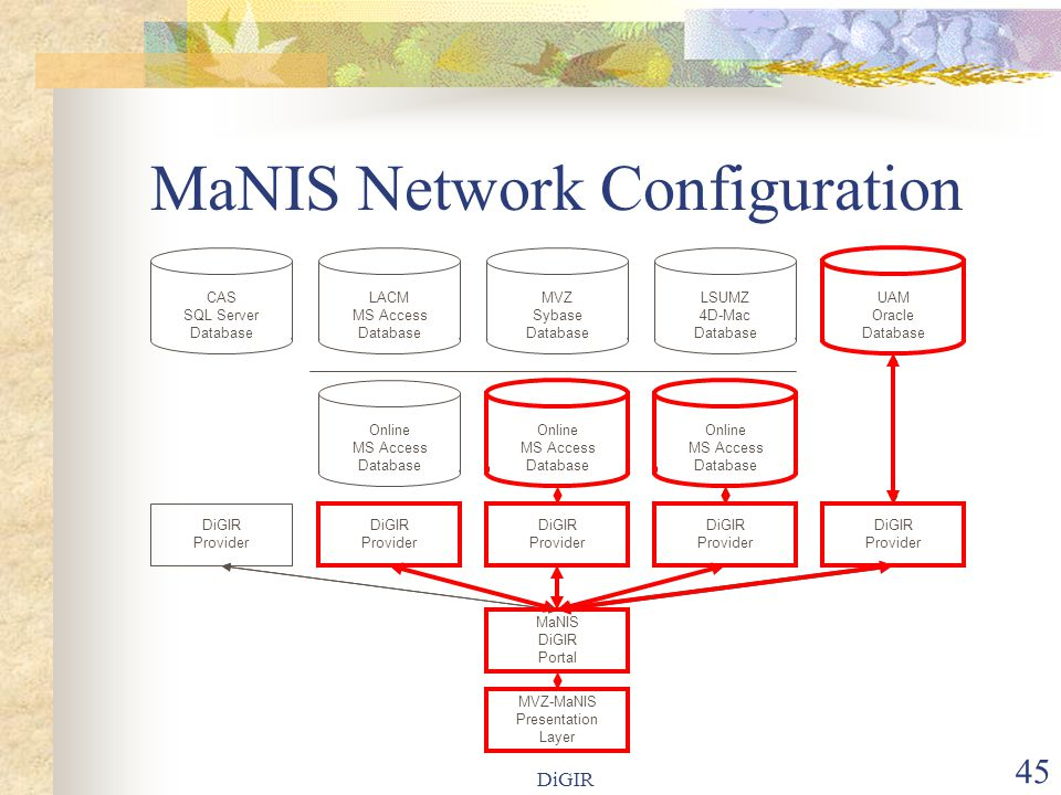 DiGIR 45 MaNIS Network Configuration LACM MS Access Database Online MS Access Database MVZ Sybase Database MaNIS DiGIR Portal LSUMZ 4D-Mac Database MVZ-MaNIS Presentation Layer DiGIR Provider DiGIR Provider DiGIR Provider DiGIR Provider DiGIR Provider CAS SQL Server Database UAM Oracle Database Online MS Access Database Online MS Access Database
